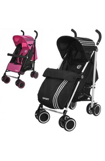 Візок дитячий M 3431-1 SPORT прогулянковий, тростина, 8 колес, 2 кольори (рожевий, чорний).