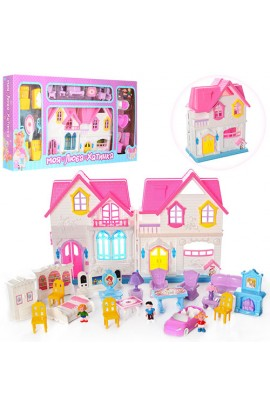 Будиночок WD-921B-E меблі, фігурки, машина, муз., світло, 2 види, бат., кор., 88-43,5-8,5 см.