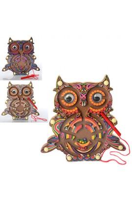 Дерев'яна іграшка Лабіринт MD 1011 сова, 3 кольори, кул., 20-19-1,5 см.