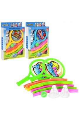 Набір спортивний M 2030 2 ракетки, кулька, воланчик, обруч, 3 види, кор., 25,5-36,5-5,5 см