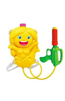 Автомат водяний дитячий M 2857 з балоном на плечі, русалка, 2 коліра, кул., 31-40-8 см