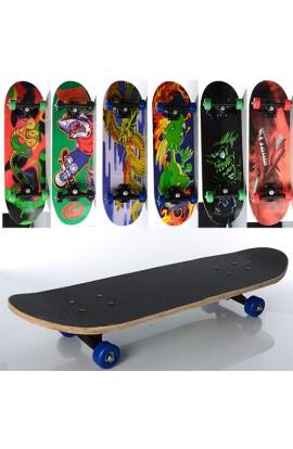 Скейт MS 0354-3 пласт. підвіска, колеса ПВХ, 7 шарів, 6 видів, розібраний, кул., 70,5-20 см