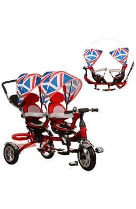 Велосипед M 3116TW-2A триколісний, DUOS, поворот, вільний хід коліс, гальмо, підшипник, червоний