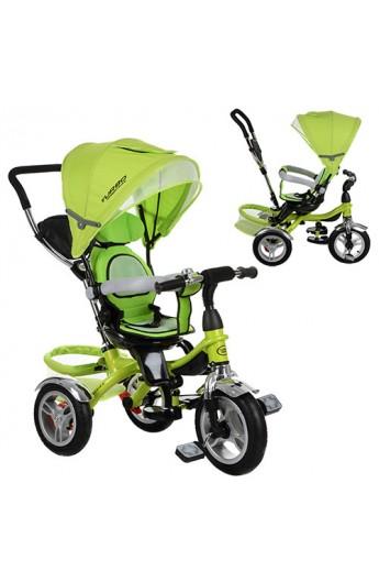Велосипед M 3114-4A три гумові колеса, колясочний, вільний хід коліс, гальмо, підшипник, зелений.