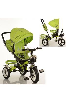 Велосипед M 3200-4A три гумові колеса, колясочний, корзина, сумка, зелений.