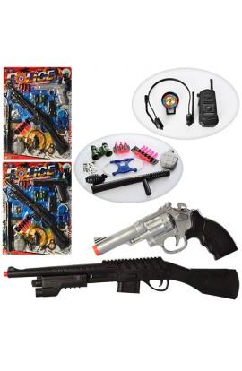 Набір поліцейського 999-32-33-34 рушниця, пістолет, кийок, граната, наручники, 3 види, лист, 59-44-4