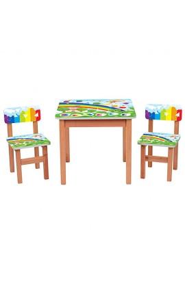 Столик F198 дерев'яний, 2 стільчика, веселка, кор., 60-60 см.