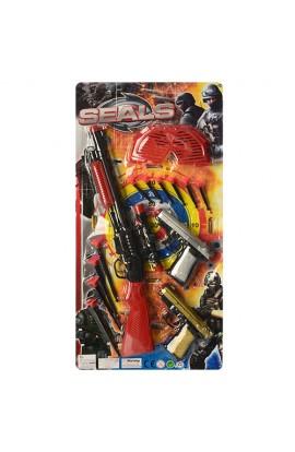 Набір військового 473-7 рушниця, пістолет 2 шт., кулі-присоски, окуляри, лист, 28-57-4 см.