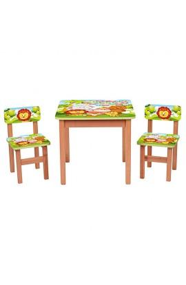 Столик F192 дерев'яний, 2 стільчика, тварини, кор., 60-60 см.
