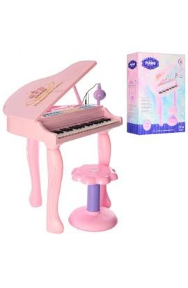 Синтезатор 6611 рояль, на ніжках, стілець, мікрофон, MP3, USB, 3D, від мережі, муз., світло, кор., 5