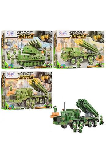 Конструктор 1312-15-16 військовий, машина, фігурки, 613 дет., 3 види, кор., 57-37-7,5 см.