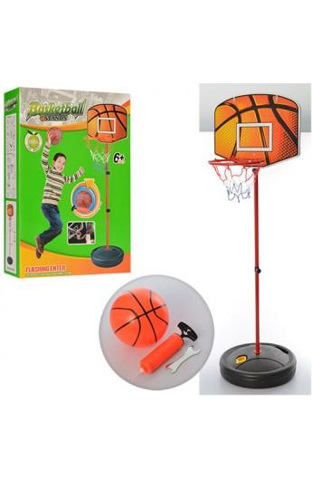 Баскетбольне кільце M 2993 стійка, кільце-мет., щит пластик, насос, м'яч, кор., 33-47-10,5 см.