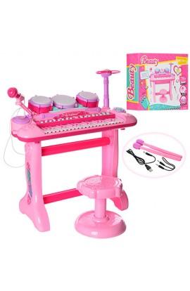 Синтезатор 105A 37 клавіш, на ніжках, стульчик, мікрофон, барабан, USBвх., MP3, від мережі, муз., св