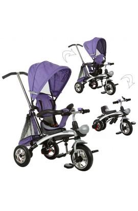 Велосипед M 3212A-2 три гумові колеса, трансформер (беговел), поворотний, фіолетовий.