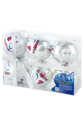 A02288 Кульки ялинкові, пластик, 6см, 6шт/наборі