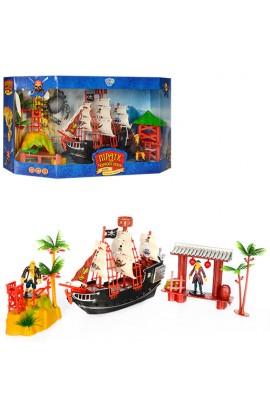 Набір піратів M 0519 U корабель, фігурки, альтанка, вишка, 2 види, кор., 47-23-12 см.