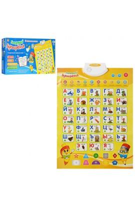 Плакат 7002 RU навчальний, літери, цифри, кольори, скороговорки, муз., бат., кор., 49-23-4 см.