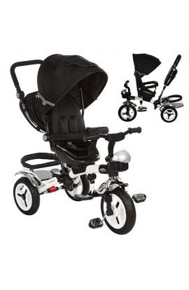 Велосипед M 3200-9A три гумові колеса, колясочний, корзина, сумка, дзвоник, чорний.