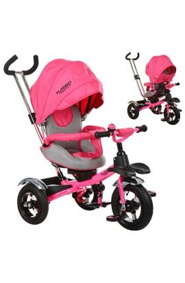 Велосипед M 3193-3A три гумові колеса, колясочний, педалі, ремені безпеки, дзвоник, рожевий.