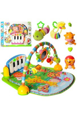 Килимок для немовляти PA318 підвіски 5 шт., дуга, піаніно, 2 види, муз., світло, бат., кор., 67-48-1