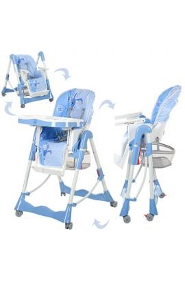 Стілець RT-002N-19 для годування, регул. висота, кошик, колеса, ремінь безпеки, синій.