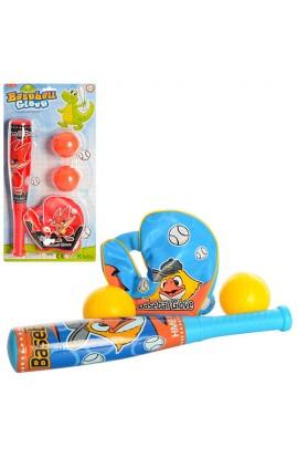 Біта M 3032 бейсбольна, рукавичка, м'ячик 2 шт., 2 види, лист, 21-42,5-6 см.