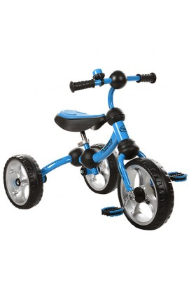 Велосипед M 3192-1 три колеса EVA, рама-поворот, підшипник, дзвіночок, блакитний.
