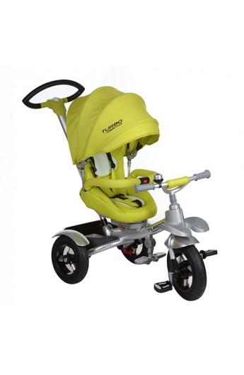 Велосипед M 3196-2A 3 гумові колеса (12/10) алюм.рама, поворот, фікс. педалі, ремені безпеки, гальмо