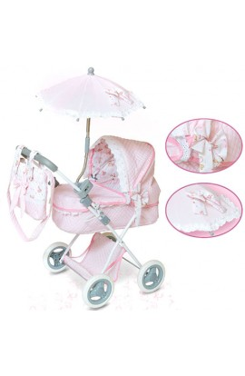 Коляска 85030 для ляльки, класика, сумка, парасолька, корзина, 4 кольори, кор., 34-53-9,5 см.