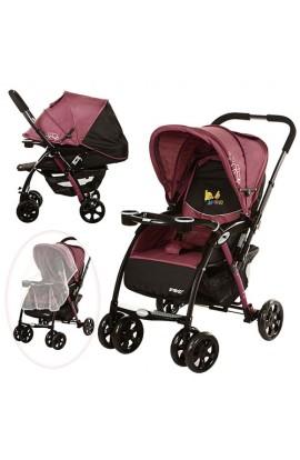Візок дитячий BD208-9 прогулянковий, книжка, глибокий дах, перекидна ручка, столик, колеса, пурпурни