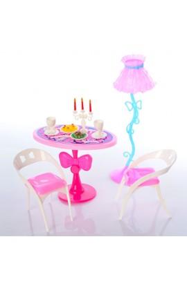 Меблі O1 стіл, стільці, торшер, столовий посуд, канделябр, кул., 18-16-6 см.