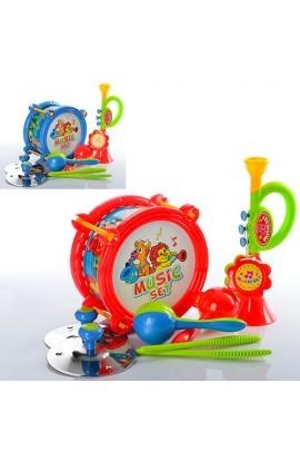 Музичні інструменти 2019 барабан, дудка, маракаси, 2 кольори, кул., 25-31-9 см.