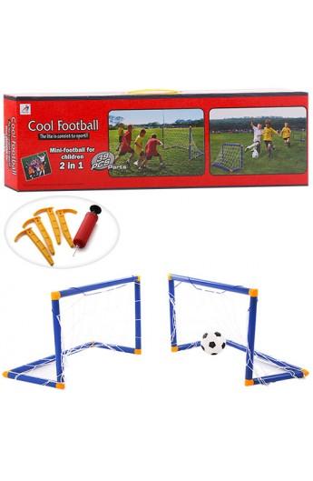 Ворота футбольні M 3039 пластик, м'яч, ПВХ, насос, кор., 62-5,5-18 см.