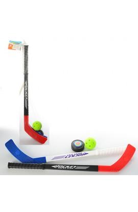 Хокей M 2909 ключка 2 шт., шайба, м'яч, сітка, 58-12-3 см.