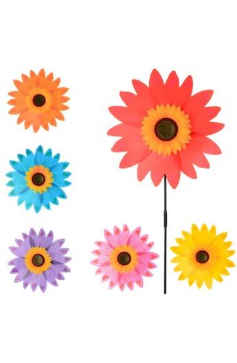 Вітрячок M 0800 розмір великий,  36, палочка, соняшник, 6 кольорів, кул., 36-36-2 см.