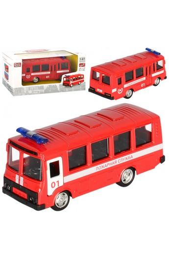 Автобус 6523A мет., інерц., пожежний, відчин. двері, гумові колеса, кор., 15,5-7,5-6 см.