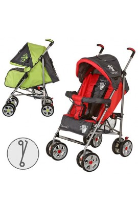 Коляска дитяча M 2105-2 прогулянкова, чохол, 2 кольори, зелено-сірий, червоно-сірий, колеса 8 шт.