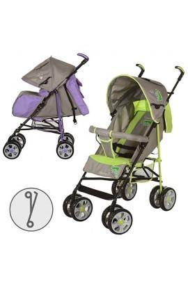 Візок дитячий M 2108-3 прогулянковий, чохол, 2 кольори, сіро-фіолетовий, сіро-зелений, колеса 8 шт.