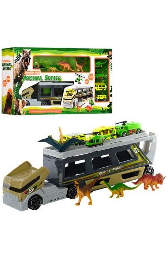 Набір транспорту SY9913 трейлер, машинка, вертоліт, динозаври 4 шт., кор., 58-29-9 см.