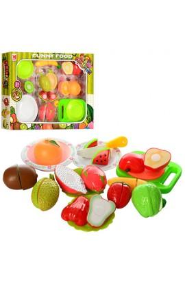Продукти 618A липучка, фрукти, тарілки, дощечка, ніж, кор., 42-32-6,5 см.