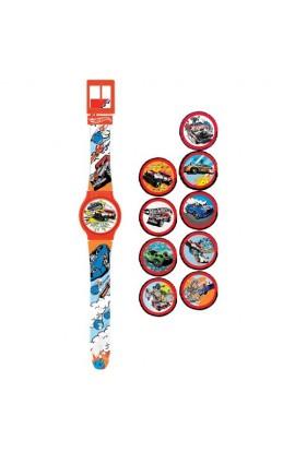 Годинник Hot Wheels з набором змінних панелей для циферблату (5 функцій: місяць, дата, години, хвили