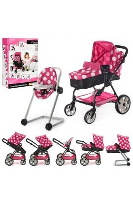 Візок D-88844 для ляльки, прогулянковий, колеса 4 шт., регулюється ручка, стіл для годування, кор.,