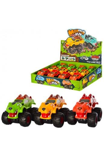 Машинка 789-10 інерц., корпус у вигляді динозавра, гумові колеса, 12 шт. (3 кольри) в диспл., 36-34-
