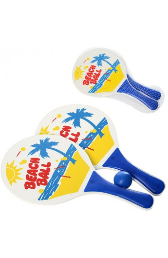 Ракетка MS 0766 пляж теніс, 2 шт., дерево, кулька, сітка, 33-18,5-4 см.
