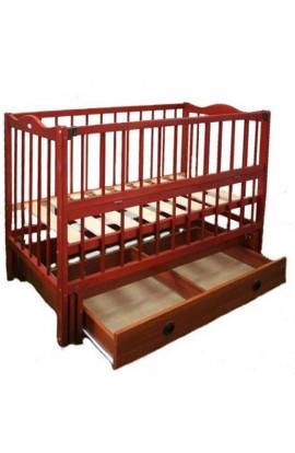 Ліжечко дитяче  Ангеліна тм Кузя  шарнір-підшибн.з відкидною боков.+шухляда,бук (Кальвадос)