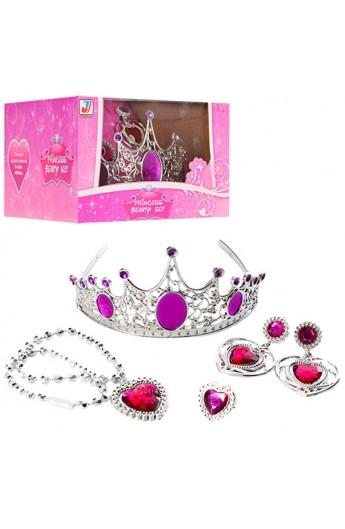 Набір аксесуарів JY877B корона, сережки, кільце, намисто, кор., 15,5-16-10 см.