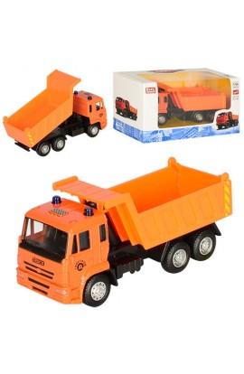 Машинка 6511A мет., інерц., самоскид, піднім. кузов, гумові колеса, кор., 16,5-9-6 см.