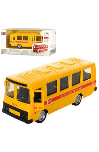 Автобус 6523D метал, інерц., шкільний, відчин. двері, гумові колеса, кор., 15,5-7,5-6 см.