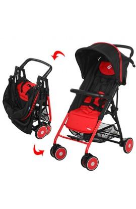 Візок дитячий PILOT M 3294-3 прогулянковий, глибокий дах, колеса 6 шт., корзина, червоно-чорний, кор