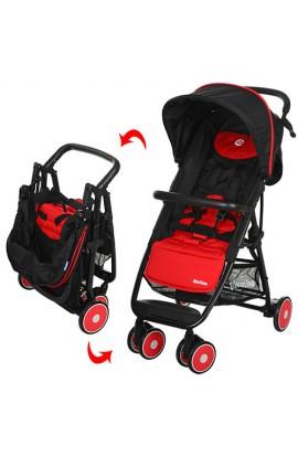 Візок дитячий MOTION M 3295-3 прогулянковий, глибокий дах, колеса 6 шт., корзина, червоно-чорний, ко